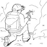 Outline Cartoon of Geologist Working Stock Image