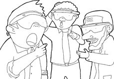 Outline Cartoon of Group in Virtual Reality Royalty Free Stock Images