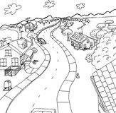Outline Cartoon of Homes in Rural Scene Royalty Free Stock Photo
