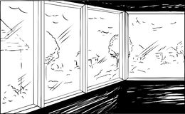 Outline Cartoon of Neighborhood from Inside Royalty Free Stock Photo