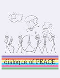Outline cartoon sketch,dialogue of peace Royalty Free Stock Photos