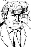 Outline cartoon of Trump with Wind Turbines. Jan. 2, 2017. Outlined grumpy President Donald J. Trump with bird droppings on shoulder and windmills behind him Stock Photos