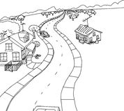 Outline Cartoon of Two Houses on Road Stock Photo
