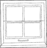 Outline Cartoon Window Royalty Free Stock Photography