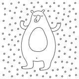 Outline Cartoon Winter Vector Illustration. Outline cartoon winter illustration with sweet bear enjoying snow. Cute vector black and white winter illustration Stock Photo