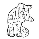 Outline cat. Vector illustration of cute cartoon cat character for children, coloring page Stock Photography