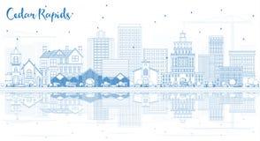 Outline Cedar Rapids Iowa Skyline with Blue Buildings with Refle Royalty Free Stock Photos