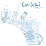 Outline Charleston South Carolina City Skyline with Blue Buildin. Gs and Copy Space. Vector Illustration. Business Travel and Tourism Illustration with Historic Stock Images