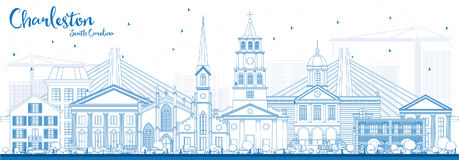 Outline Charleston South Carolina Skyline with Blue Buildings. Royalty Free Stock Image