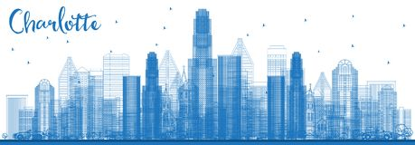 Outline Charlotte North Carolina Skyline with Blue Buildings. Vector Illustration. Business Travel and Tourism Concept with Modern Architecture. Charlotte royalty free illustration