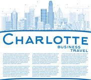 Outline Charlotte Skyline with Blue Buildings and Copy Space. Royalty Free Stock Photos