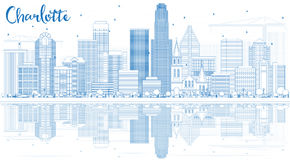 Outline Charlotte Skyline with Blue Buildings and Reflections. Royalty Free Stock Photo