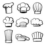 Outline chef hats and toques vector set Stock Photos