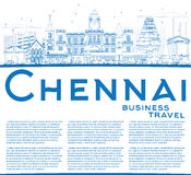 Outline Chennai Skyline with Blue Landmarks and Copy Space. Stock Photos