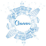 Outline Chennai Skyline with Blue Landmarks and Copy Space. Stock Images