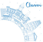 Outline Chennai Skyline with Blue Landmarks and Copy Space. Stock Photography