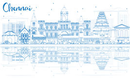 Outline Chennai Skyline with Blue Landmarks and Reflections. Royalty Free Stock Images