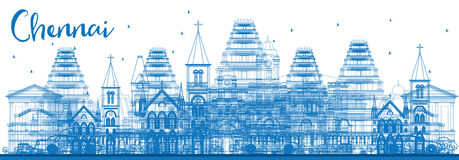 Outline Chennai Skyline with Blue Landmarks. Royalty Free Stock Image