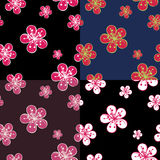 Outline Cherry Flowers background in dark colours. Stock Image
