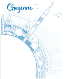 Outline Cheyenne (Wyoming) Skyline with Blue Buildings and copy Royalty Free Stock Photography