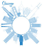 Outline Chicago city skyline with blue skyscrapers and copy spac Royalty Free Stock Photography