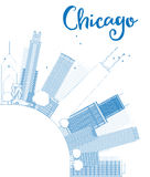Outline Chicago city skyline with blue skyscrapers and copy spac Royalty Free Stock Photos