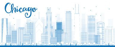 Outline Chicago city skyline with blue skyscrapers Royalty Free Stock Photo