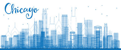 Outline Chicago city skyline with blue skyscrapers. Royalty Free Stock Photography