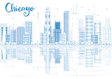 Outline Chicago skyline with blue buildings and reflections. Stock Photos