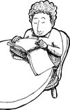 Outline of Child Reading Stock Photo