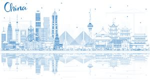 Outline China City Skyline with Reflections. Famous Landmarks in China. Vector Illustration. Business Travel and Tourism Concept. Image for Presentation Royalty Free Stock Photos