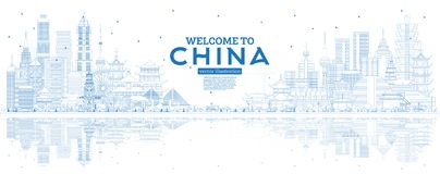 Outline China Skyline with Blue Buildings and Reflections stock illustration