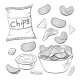 Outline chips collection on white background. Vector different chips elements royalty free stock image