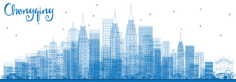 Outline Chongqing Skyline with Blue Buildings. Stock Image