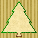 Outline of a christmas tree with golden stripes. Outline of a christmas tree with a beige patterned large text field for your own text with golden stripes in a stock illustration