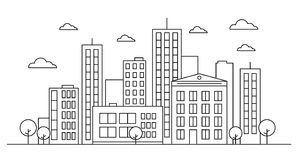 Outline city landscape skyline concept with buildings, scyscrapers, trees and clouds. Design concept. Vector illustration.Editable. Outline city landscape royalty free illustration