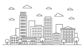 Outline city landscape skyline design concept with buildings, scyscrapers, trees, clouds and cafe. Vector, graphic illustration. Editable stroke. Isolated on royalty free illustration