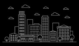 Outline city landscape skyline design concept with buildings, scyscrapers, trees, clouds and cafe. White contour. Vector, graphic illustration. Editable stroke vector illustration