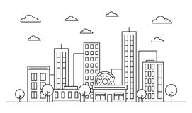 Outline city skyline landscape design concept with buildings, scyscrapers, donut shop cafe,clouds,trees. Vector, graphic. Illustration. Editable stroke vector illustration