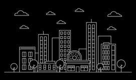 Outline city skyline landscape design concept with buildings, scyscrapers, donut shop cafe,clouds,trees.White contour.Vector. Graphic illustration. Editable stock illustration