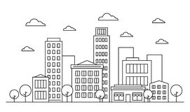 Outline city skyline landscape design concept with buildings, scyscrapers, trees, clouds and cafe. Vector illustration. Editable. Stroke. Isolated on white vector illustration