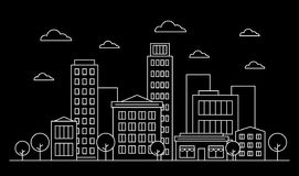 Outline city skyline landscape design concept with buildings, scyscrapers, trees, clouds and cafe. White contour, Vector. Illustration. Editable stroke royalty free illustration
