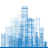 Outline City Skyscrapers in blue color Stock Images