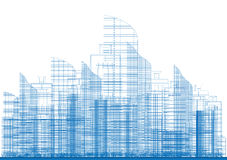 Outline City Skyscrapers in Blue Color. Stock Image