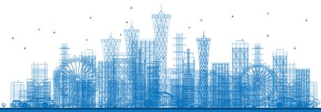 Outline City Skyscrapers and Buildings in Blue Color. Royalty Free Stock Images