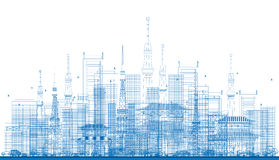Outline City Skyscrapers and Tv Towers in Blue Color. Vector Illustration. Business Travel and Tourism Concept. Image for Presentation, Banner, Placard and Web Stock Photo