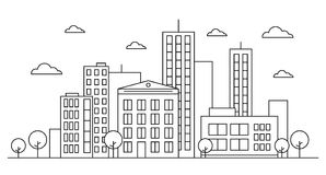 Outline city street landscape skyline concept with buildings, scyscrapers, trees and clouds. Vector illustration. Editable stroke. Outline version. Isolated on Royalty Free Stock Photo