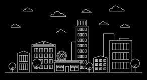 Outline cityscape landscape skyline design concept with buildings, scyscrapers,trees,clouds,donut shop cafe.White contour vector illustration