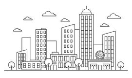 Outline cityscape skyline landscape design concept with buildings, scyscrapers, donut shop cafe trees, clouds. Vector, graphic illustration. Editable stroke royalty free illustration