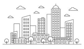 Outline cityscape skyline landscape design concept with buildings, scyscrapers, donut shop cafe trees, clouds. Vector. Graphic illustration. Editable stroke royalty free illustration